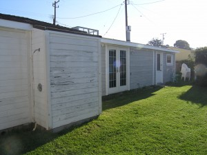 Backyard with original siding